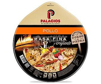 Palacios Pizza de masa fina y crujiente con pollo asado y pimientos verdes, rojos y amarillos 375 gramos