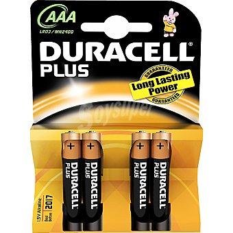 Duracell Pila Plus Power alcalina AAA (lr03-mn2400) 1,5 voltios blister 4 unidades 4 unidades