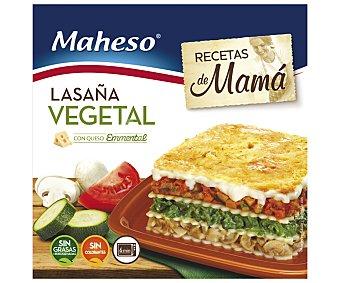 Maheso Lasaña vegetal con queso emmental 300 gramos