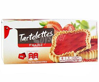 Auchan Tartaletas de galleta con relleno de fresa 127 g