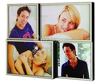 HOFMANN Marco de metal múltiple para 4 fotos, 2 fotos de 10x10 cetnímetros y 2 de 10x15, tamaño exterior: 26x21 centímetros, modelo 46000 1 Unidad
