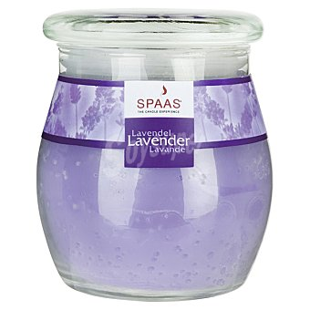 SPAAS Vela Perfumada en vaso de cristal con tapa aroma Lavanda