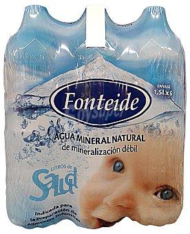 FONTEIDE Agua mineral natural Pack 6 x 1500 cc - 9000 cc
