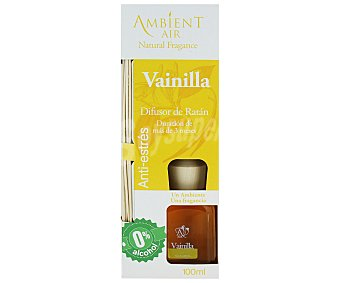 AMBIENTAIR Difusor de varillas de ratán Anti-Estrés, con perfume olor a vainilla 100 mililitros