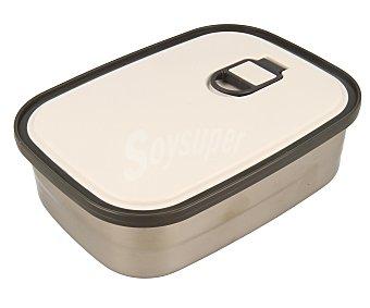 QUID Recipiente hermético porta alimentos con cubeta de acero inoxidable y tapa de plástico con aro de silicona, 0,75 litros de capacidad, modelo Go One 1 unidad