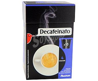 Auchan Café molido descafeinado de tueste natural en monodosis 10 unidades 55 gramos