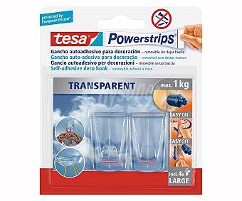 Tesa Gancho plástico transparente con adhesivo, TESA.