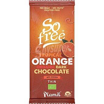 Plamil So Free chocolate negro ecológico 60% cacao con naranja tableta 80 g sin leche, gluten ni frutos secos tableta 80 g