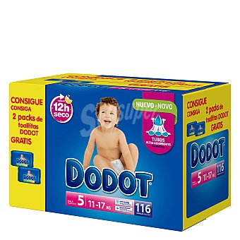 Dodot Caja Pañal T5 (11-17 kg.) + regalo 2 packs de toallitas 116 ud