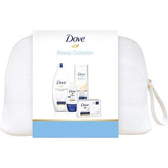 Dove Neceser con gel de baño hidratación + leche corporal nutrición frasco 400 ml + desodorante roll-on original envase 50 ml + pastilla de jabón 2x100 g frasco 500 ml