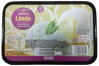 Hacendado Helado tarrina sorbete limon C/ daditos limon confitado 1 l
