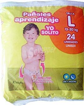 DELIPLUS Pañal yo solito aprendizaje 13 a 20 kg talla L (subo y bajo como ropa interior) Paquete de 24 unidades