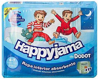 DODOT HAPPYJAMA Braguita de noche niños 4-7 años ropa interior absorbente bolsa 17 unidades 17-29 kg