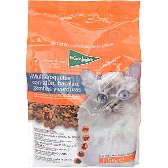El Corte Inglés Mini croquetas para gatos con atún bacalao gambas y verduras Antihairball Bolsa 1,5 kg