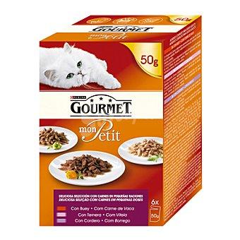 Bon Menu Comida para gatos de carne de buey, ternera y cordero pack 6x50 gr