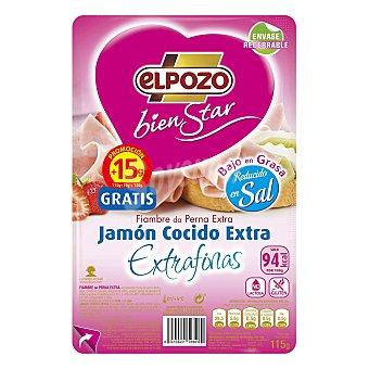 ElPozo Jamón cocido lonchas finas bienstar 125 g