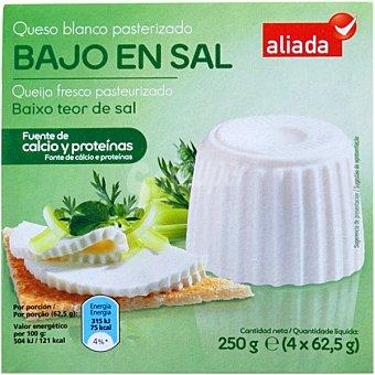 Aliada Queso fresco bajo en sal Pack 4 envases 62,50 g