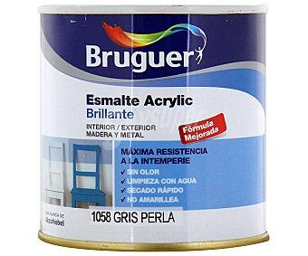 BRUGUER Esmalte Decorativo Acrílico, Color Gris Perla, Acabado Brillante 0,25 Litros