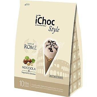 ICHOC Style Tast of Rome miniconos de chocolate con leche y avellanas envase 320 ml 10 unidades