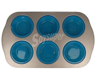 QUID Molde para 6 muffins de silicona con asas inoxidables 1 unidad