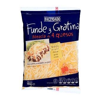 Lafuente Queso rallado hilos 4 variedades (emental-cheddar-gouda-curado) fundir y gratinar Paquete 180 g
