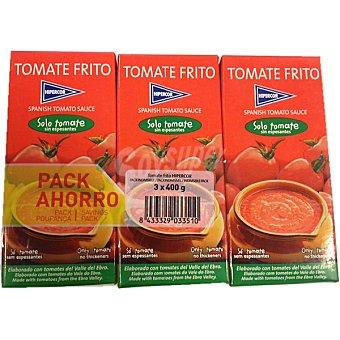 Hipercor Tomate frito elaborado con tomates del Valle del Ebro pack 3 400 g Pack 3 400 g