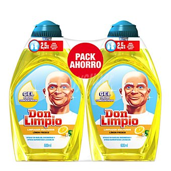 Don Limpio Pack Gel limpiador multiusos limón fresco pack de 2x600 ml