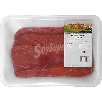 INCOVA Ternera filetes 1ª A de tapa peso aproximado bandeja 500 g Bandeja 500 g