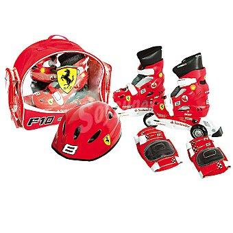 FERRARI 8399 set patines extensibles en color rojo con casco y protectores talla 35-38