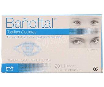Bañoftal Toallitas oculares con ácido hialurónico y extractos naturales, para higiene ocular externa 20 uds