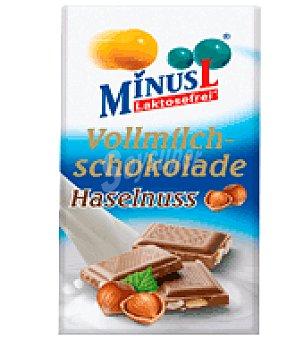 MinusL Chocolate con Leche y Avellana Sin Lactosa 80 g