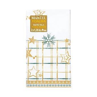 Bosque Verde Mantel desechable aspecto tela 2 x 1,20 m color crema y dorado decoracion nieve 1 unidad