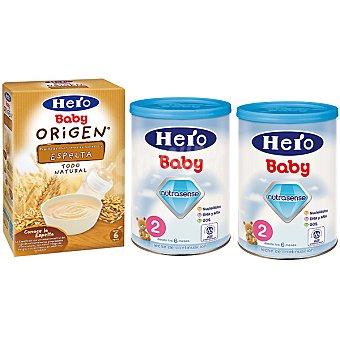Hero Baby leche Avanza Continuación + papilla de espelta lote 2100 g 2x600g