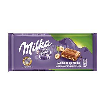 Milka Chocolate extrafino con leche y avellanas troceadas 125 g