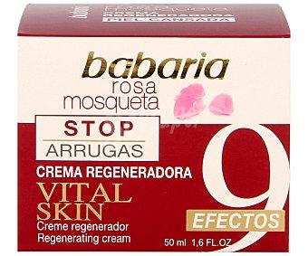 Babaria Crema regeneradora con rosa mossqueta para pieles cansadas, 9 efectos (antiarrugas, suaviza las líneas de expresión, atenua los signos de fatiga, hidratación más elasticidad, más firmeza, más suavidad, tono más uniforme y potencia la longevidad celular 50 mililitros