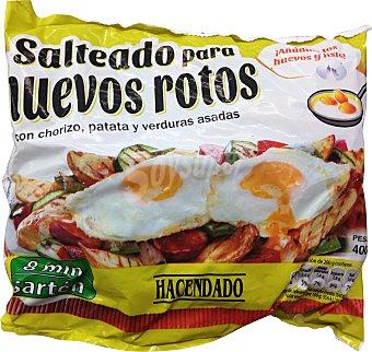 HACENDADO Salteado para huevos rotos (con chorizo patata y verduras asadas) congelado Paquete 400gr.