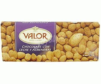 Valor Chocolate Puro con Leche y Almendra Tableta 250 Gramos