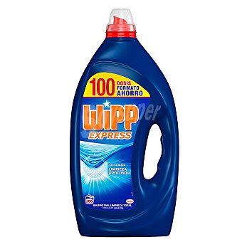 Wipp Express Detergente máquina líquido gel Limpio & Liso Botella 100 dosis