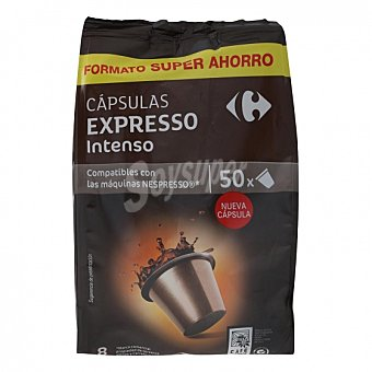 Nespresso Café intenso en cápsulas Carrefour compatible con 50 unidades de 5,2 g