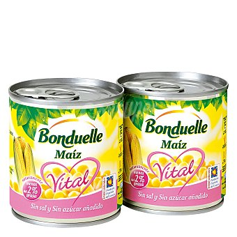 Bonduelle Maíz sin sal y sin azúcar añadido Bonduelle Pack de 2 unidades de 140 g