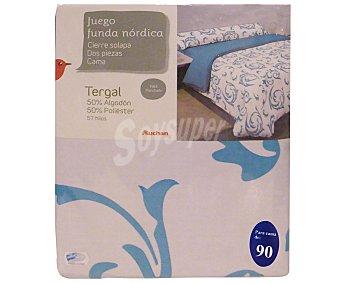 Auchan Juego de funda con cierre de solapa para edredón nórdico de 90 centímetros más funda para almohada, estampado ornamental de tonos turquesas, modelo Robledo, 1 unidad