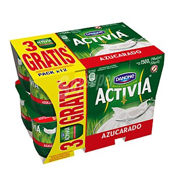 Activia Danone Yogur natural azucarado Pack de 12x125 g