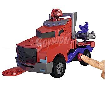 Transformers Camión Optimus interactivo con 4 lanzadores, luces y sonidos, 23 centímetros 1 unidad