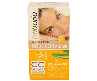 Babaria Crema facial hidratante con color y factor de protección 20 Caja 50 ml