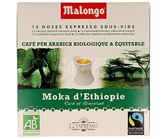 Malongo Café expreso moka de Etiopía, 100% arábico en monodosis 12 unidades