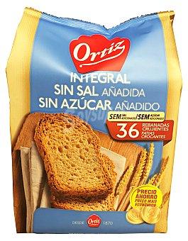Ortiz Pan tostado integral sin sal y azucar Paquete 324 gr