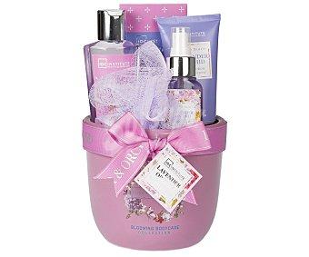 Idc institute Cesta con productos de belleza corporal con aroma a lavanda y orquídea, incluye lociones corporales, sales de baño y gel de ducha, Beauty & Skincare 1 unidad