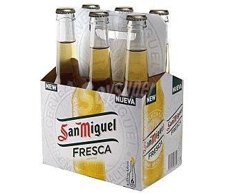 San Miguel Cerveza rubia nacional Pack de 6 botellas de 33 centilitros