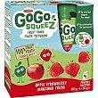 Fruta triturada de manzana-fresa 100% Pack 4 x 90 g Gogo Squeez