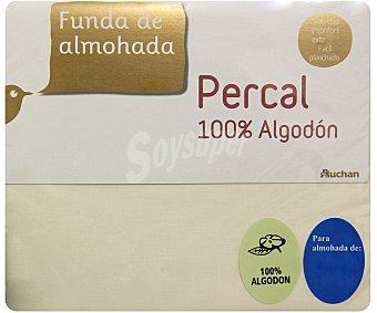 Auchan Funda de percal 100% algodón para almohada individual, 90/105 centímetros, color crudo 1 unidad